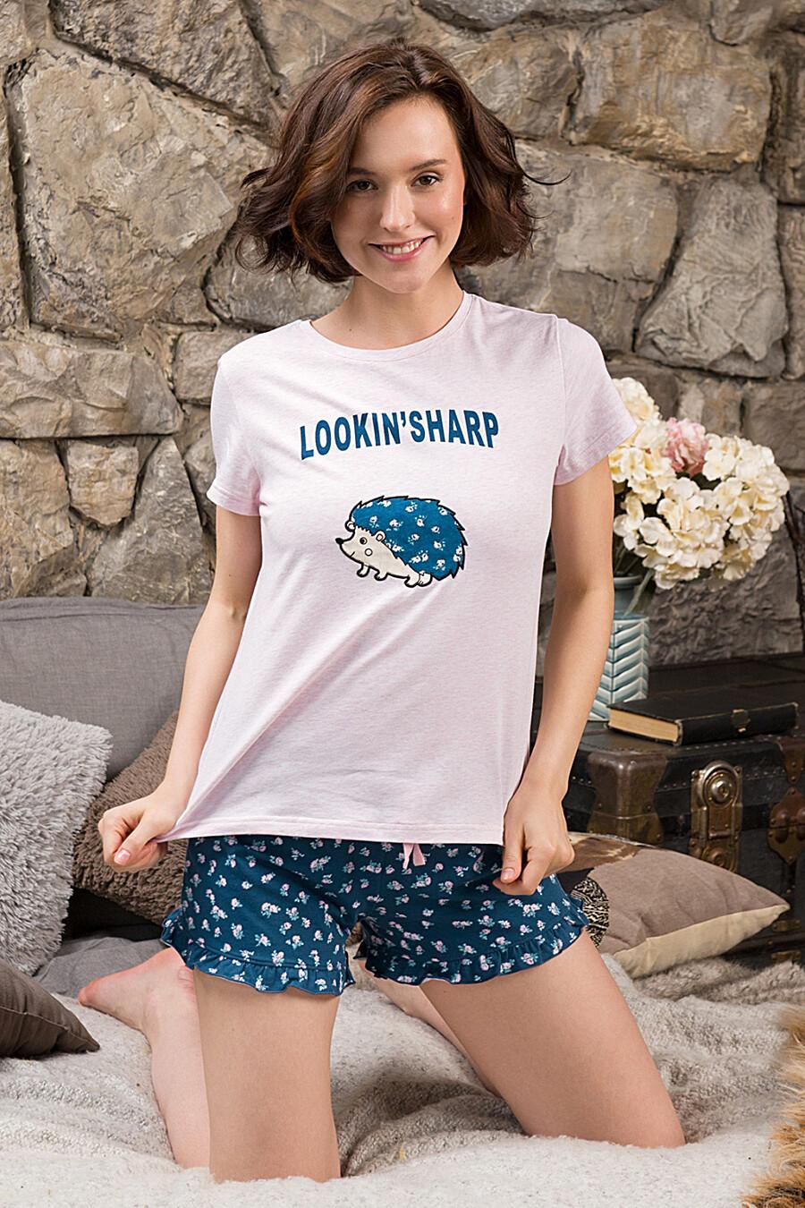 Пижама (Шорты+Футболка) для женщин INDEFINI 175854 купить оптом от производителя. Совместная покупка женской одежды в OptMoyo