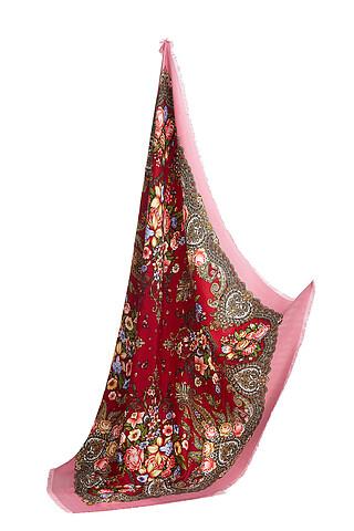 Яркий платок с павлопосадским узором и бахромой, 96 x 96 см. Nothing But Love