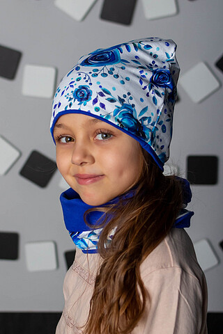 "Комплект ""Цветы - синий"" (шапка + снуд) ДЕТСКИЙ ТРИКОТАЖ 37"